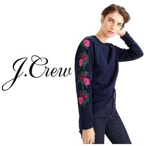 NWT J.Crew Sweatshirt with Embroidered Flowers -S